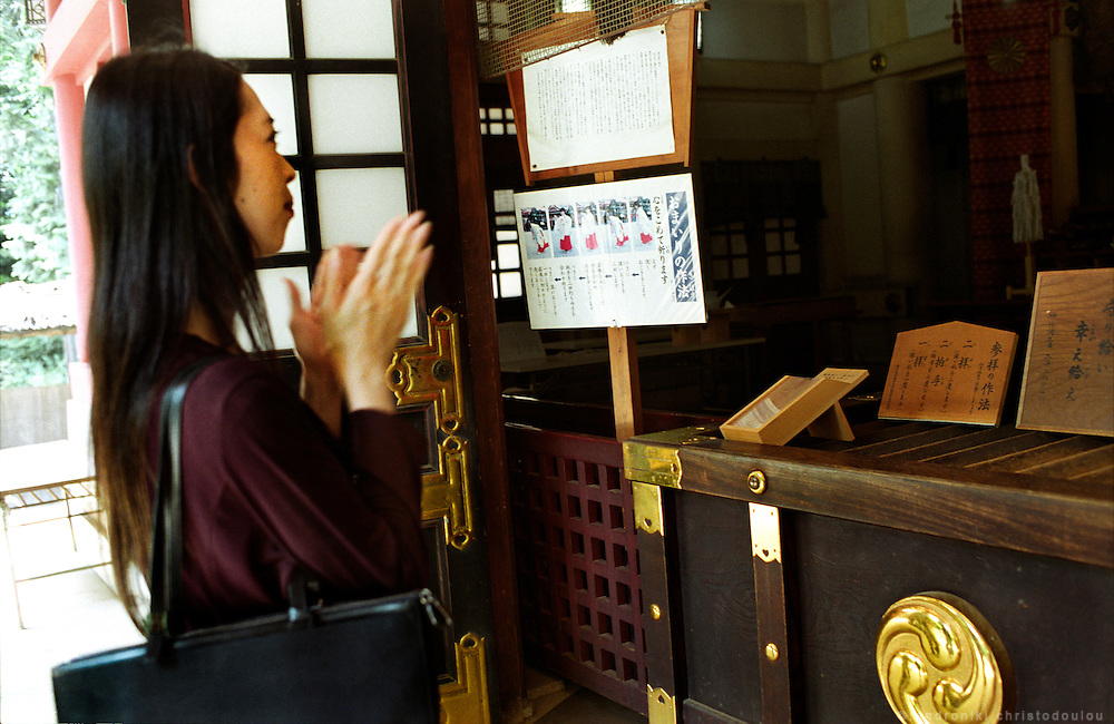TOKYO TRANSGENDER.A visit to a Shinto shrine, .Aya has recently come out in the open as a transsexual after many years living her life as a woman. .©: Androniki Christodoulou.
