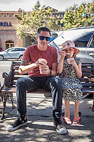 """""""Jos had the day off from school...we decided it was the perfect day to put the top down and drive to Calistoga.""""   -Santa Rosa resident David Tribbey with his Daughter, Joslyn, in downtown Calistoga"""