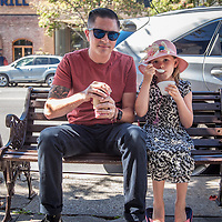 """Jos had the day off from school...we decided it was the perfect day to put the top down and drive to Calistoga.""   -Santa Rosa resident David Tribbey with his Daughter, Joslyn, in downtown Calistoga"