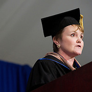 10/21/2011 - Medford/Somerville, Mass. Tufts University Alumni Association President Barbara Clarke, J88, delivers remarks during the inauguration ceremony for Tufts University's thirteenth president, Anthony P. Monaco on Friday, October 21, 2011.   (Alonso Nichols/Tufts University)