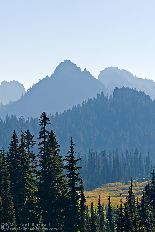 Forest fire smoke over Paradise Valley and Wahpenayo and Lane Peaks of the Tatoosh Range - Mount Rainier National Park.