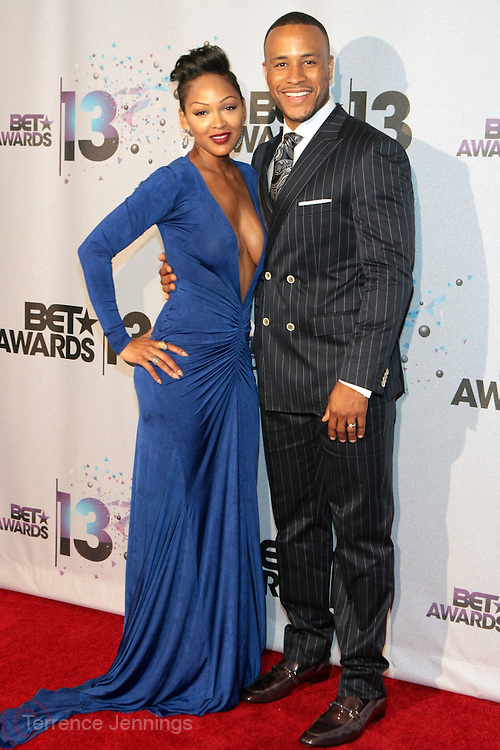 Los Angeles, CA-June 30:  (L-R) Actress Meagan Good and her husband DeVon Franklin backstage at the 2013 BET Awards Winners's Room Inside held at LA Live on June 30, 2013 in Los Angeles, CA. ©Terrence Jennings