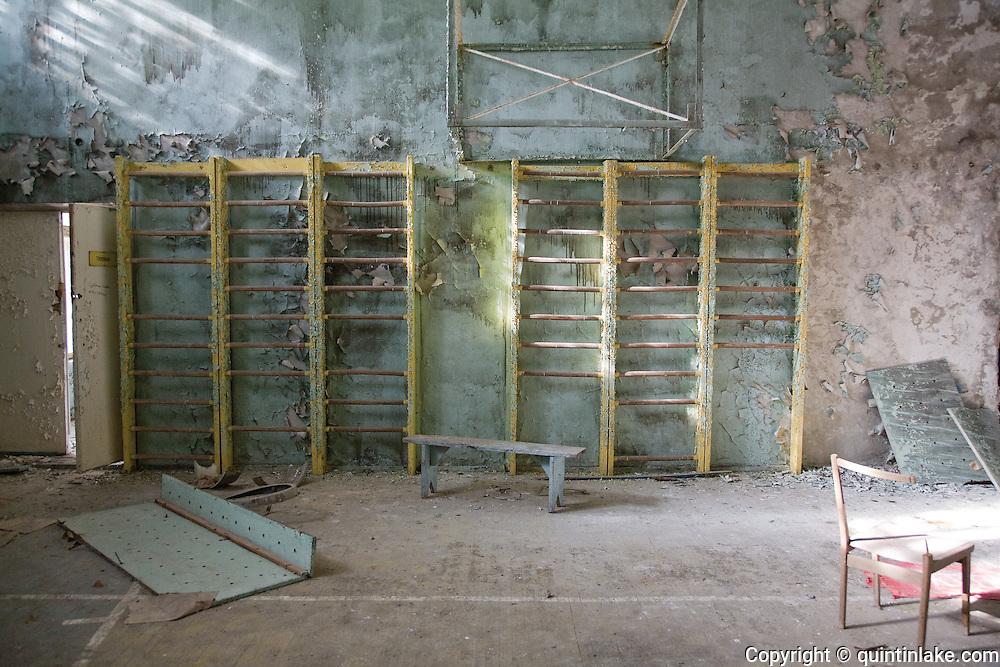 Gymnasium, 21 years after the Chernobyl disaster. Pripiat, Ukraine, 2007