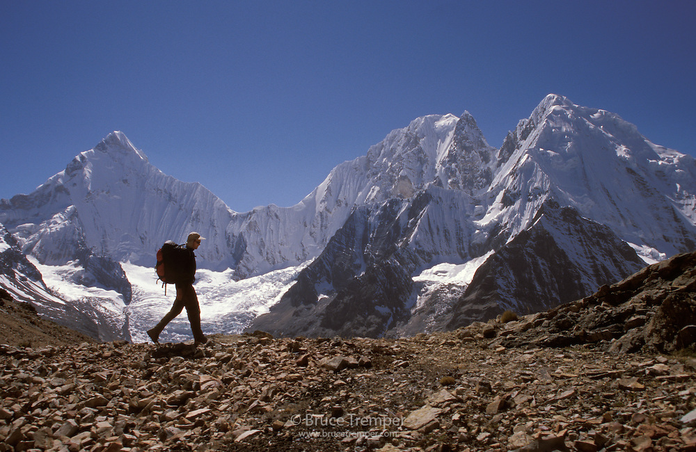 Bob Greely on a high pass in the Huayhuash Range of Peru.  Yerupaja is the mountain behind.