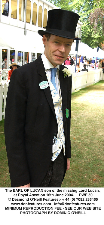 The EARL OF LUCAN son of the missing Lord Lucan, at Royal Ascot on 16th June 2004.PWF 50