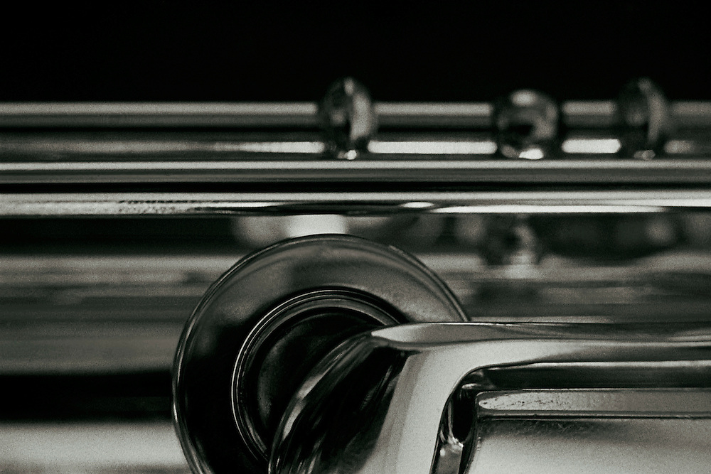 Close-up view of a shiny flute.
