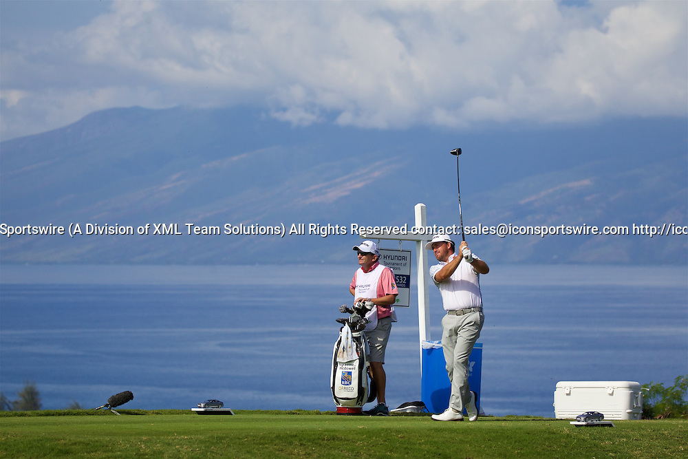 January 08 2016: Graeme McDowell tees off on number five during the Second Round of the Hyundai Tournament of Champions at Kapalua Plantation Course on Maui, HI. (Photo by Aric Becker/Icon Sportswire)