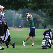 Zachary Barbin of Elkton, MD, tees off on the eighth hole during the 2015 Delaware junior championship at Chesapeake Bay Golf Club Thursday, July 03, 2015, in Rising Sun, Maryland.