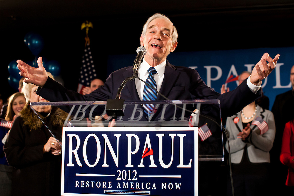 Republican presidential candidate Ron Paul holds a caucus night rally on Tuesday, January 3, 2012 in Ankeny, IA.