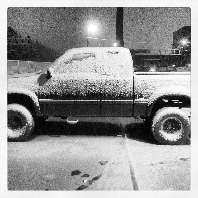 2014 February 08 - A Toyota pickup truck in snow in winter in a neighborhood in West Seattle, WA, USA. Taken/edited with Instagram App for iPhone. By Richard Walker