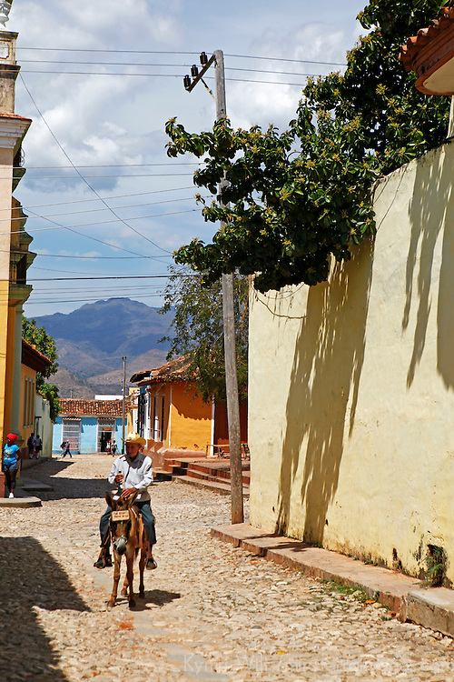 Central America, Cuba, Trinidad. Man on mule as a donkey taxi in Trinidad, Cuba.