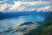 Alaska. Chugach National Forest. Prince William Sound. Aerial of Port of Valdez.