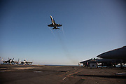 A F/A-18 Hornet flies over the landing area of the flight deck after being &quot;waved off&quot;<br /> <br /> Aboard the USS Harry S. Truman operating in the Persian Gulf. February 25, 2016.<br /> <br /> Matt Lutton / Boreal Collective for Mashable