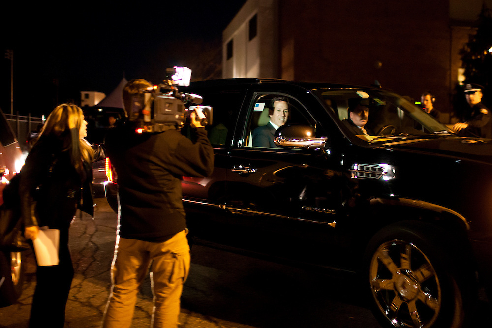 Republican presidential candidate Rick Santorum leaves after the WMUR/ABC News Debate at Saint Anselm College on Saturday, January 7, 2012 in Manchester, NH. Brendan Hoffman for the New York Times