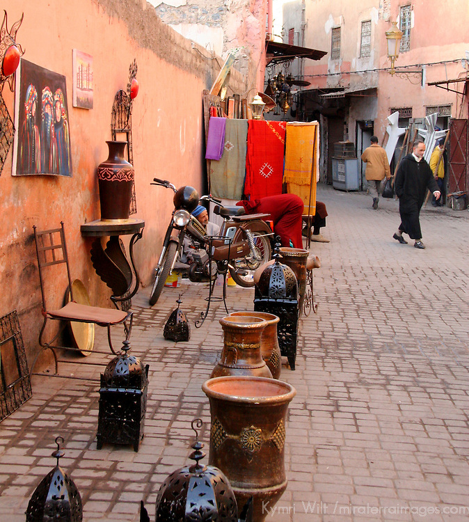 North Africa, Africa, Morocco, Marrakesh. Lanterns and housewares for sale on the souks of Marrakesh.