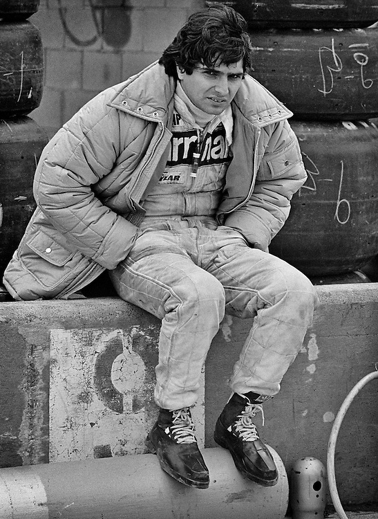 Despite qualifying second for the 1979 US Grand Prix, Paramalat-Brabham Formula One driver Nelson Piquet's face shows the strain of a very difficult Formula One season. Brazilian Piquet had partnered three-time World Champion Niki Lauda to race the Brabham-Alfa Romeo BT48. The engine proved to be unreliable, with Piquet retiring from eight of the first eleven grands prix. <br />