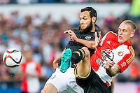 ROTTERDAM - Feyenoord - FC Utrecht , Voetbal , Seizoen 2015/2016 , Eredivisie , Stadion de Kuip , 08-08-2015 , FC Utrecht speler Nacer Barazite (l) in duel met Speler van Feyenoord Rick Karsdorp (r)