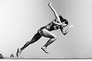 Sao Paulo, Brazil, May 29 of 2012: BRAZILIAN OLYMPIC ATHLETES: Ana Claudia Lemos, Guadalajara Panamerican Games gold medalist for the 200m, during a photo shooting at a studio in Sao Paulo. (Photo: Caio Guatelli)