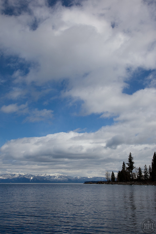 """Lake Tahoe 7"" - This cloudy scene was photographed from the West shore of Lake Tahoe."