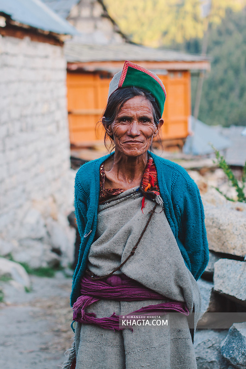 Portrait of a Kinnauri Lady wearing Traditional Clothes