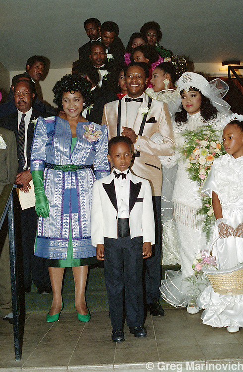 Johannesburg, South Afgrica. Nelson Mandela at the wedding of Zinzi Mandela and Zweli Hlongwane, October 1992