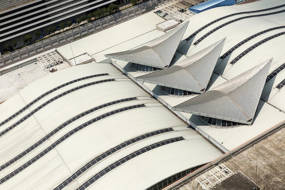 Asia, Malaysia, Kuala Lumpur, Overhead view of roofline of KL Sentral train station