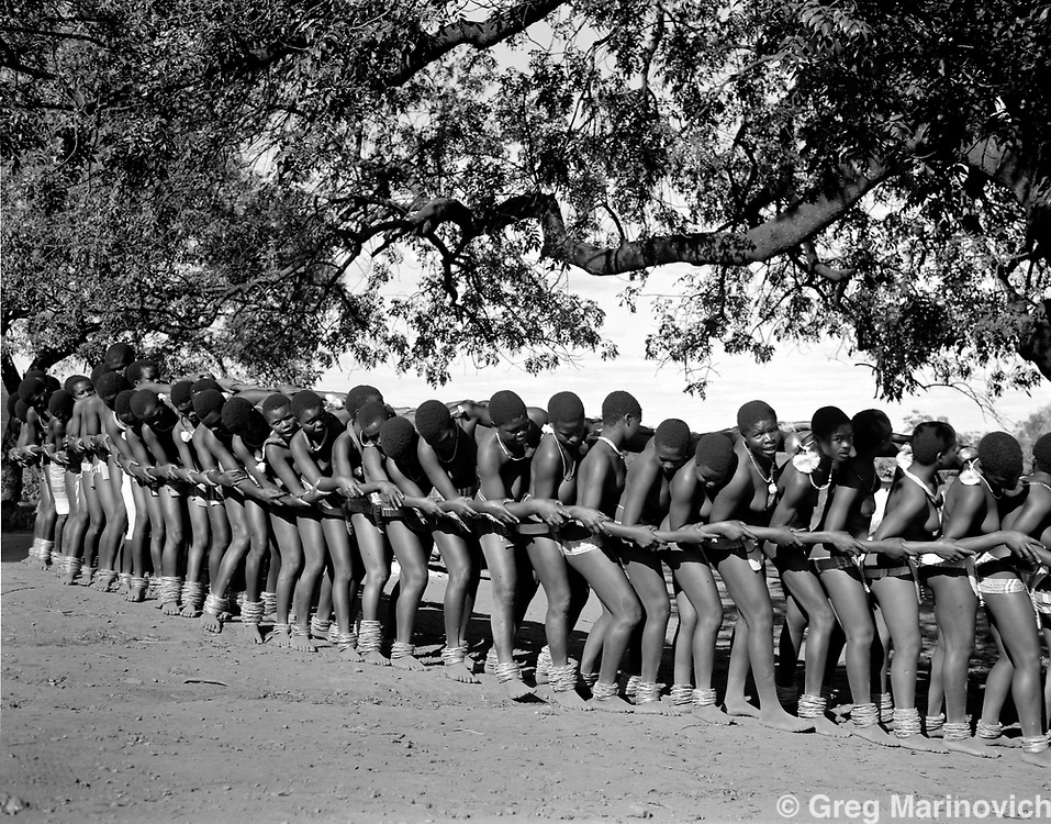Young baVenda girls perform the Domba, sometimes called the Python Dance, at a village in the Venda homeland, South Africa 1988/9 Photo Greg Marinovich