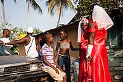 Dominican Republic: Las Reinas (Queens) at the GaGá  procession of El GaGá de San Luis on the outskirts of Santo Domingo...