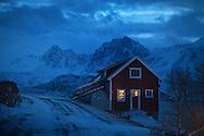 Cold winter night in Bergsfjord, Finnmark, Norway.