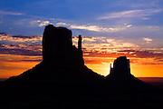 The Mittens at sunrise. Monument Valley, Arizona.