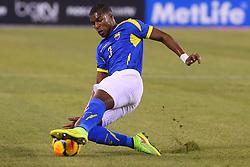 Sep 9, 2014; East Rutherford, NJ, USA; Ecuador defender Frickson Erazo (3) slides to block a pass during the first half at MetLife Stadium.
