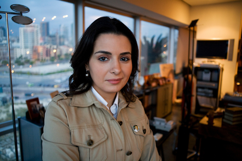 Lebanese indpendent parliamentary candidate, Naila Tueni, at the offices of An-Nahar newspaper in downtown Beirut. Gebran Tueni the former editor of An-Nahar turned politician, was assassinated by a car bomb on 12 December 2005.