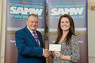 Scottish Association of Meat Wholesalers presentation of cheques to 3 charities at Parklands Hotel, Perth, 28th September, 2016. Allan Jess (President) with Georgina Hood