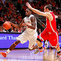CHAMPAIGN, IL - JANUARY 05: Brandon Paul #3 of the Illinois Fighting Illini dribbles the ball against Aaron Craft #4 of the Ohio State Buckeyes at Assembly Hall on January 5, 2013 in Champaign, Illinois. Ilinois defeated Ohio State 74-55. (Photo by Michael Hickey/Getty Images) *** Local Caption *** Brandon Paul; Aaron Craft