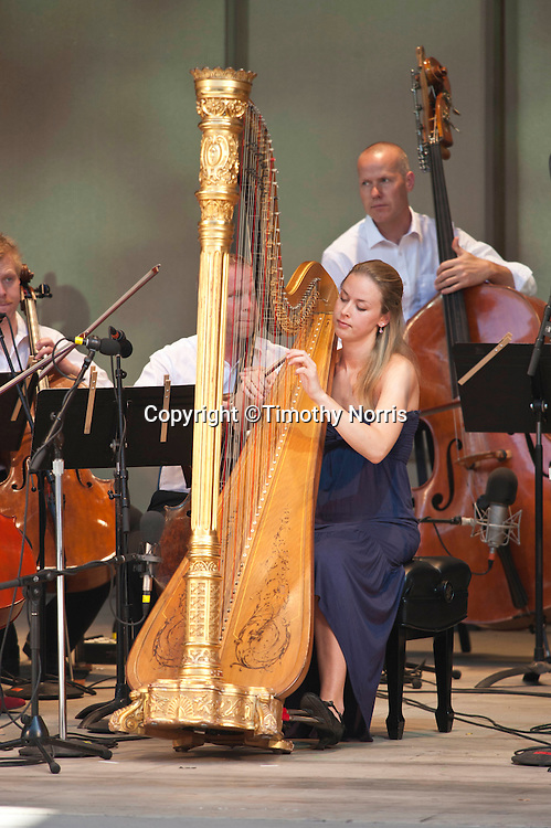 Ida Aubert Bang performs Claude Debussy's Danse sacrée et danse profane with the Norwegian Chamber Orchestra at the 66th Ojai Music Festival on June 10, 2012 in Ojai, California.