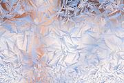 Alaska.  Ice crystals on a frozen window.