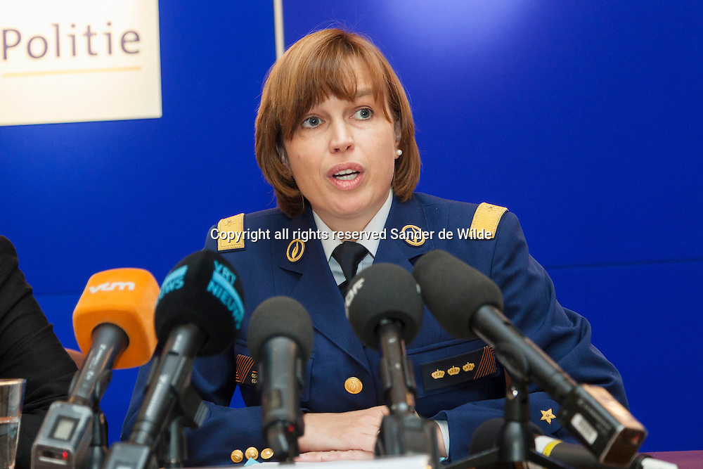Brussels 2012 09 20 press conference on the future of the federal police in Belgium. Mrs Catherine De Bolle, General Commisionar Federal Police. The heads of justice, internal affairs and police are all women.