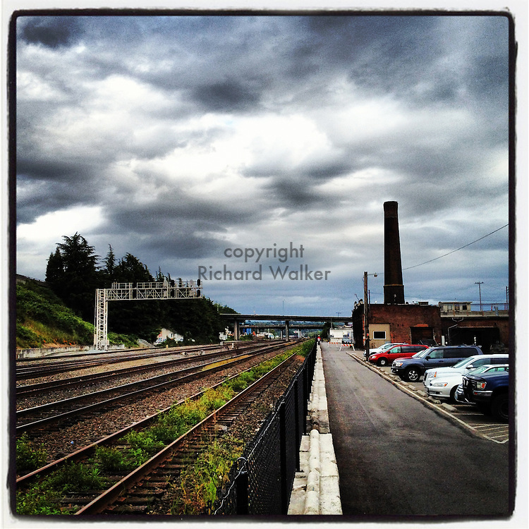 2012 JUNE 09 - Train tracks near the Original Rainier Brewery in Georgetown, Seattle, WA, USA. Taken with Apple iPhone using Instagram App. By Richard Walker