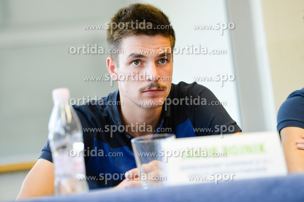 Jakob Rojnik of U21 Nationalteam during the press conference before the Friendly Volleyball match between OK Panvita Pomgrad and U21 Nationalteam of Slovenia on August 28, 2015 in Murska Sobota, Slovenia. Photo by Mario Horvat / Sportida