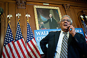 Jul 15, 2010 - Washington, District of Columbia, U.S., - Representative Barney Frank talks on his cell phone following the official enrollment of the Wall Street Reform Bill during a ceremony in the Capitol on Thursday. The bill will now be sent to President Barack Obama for his signature. (Credit Image: © Pete Marovich/ZUMA Press)