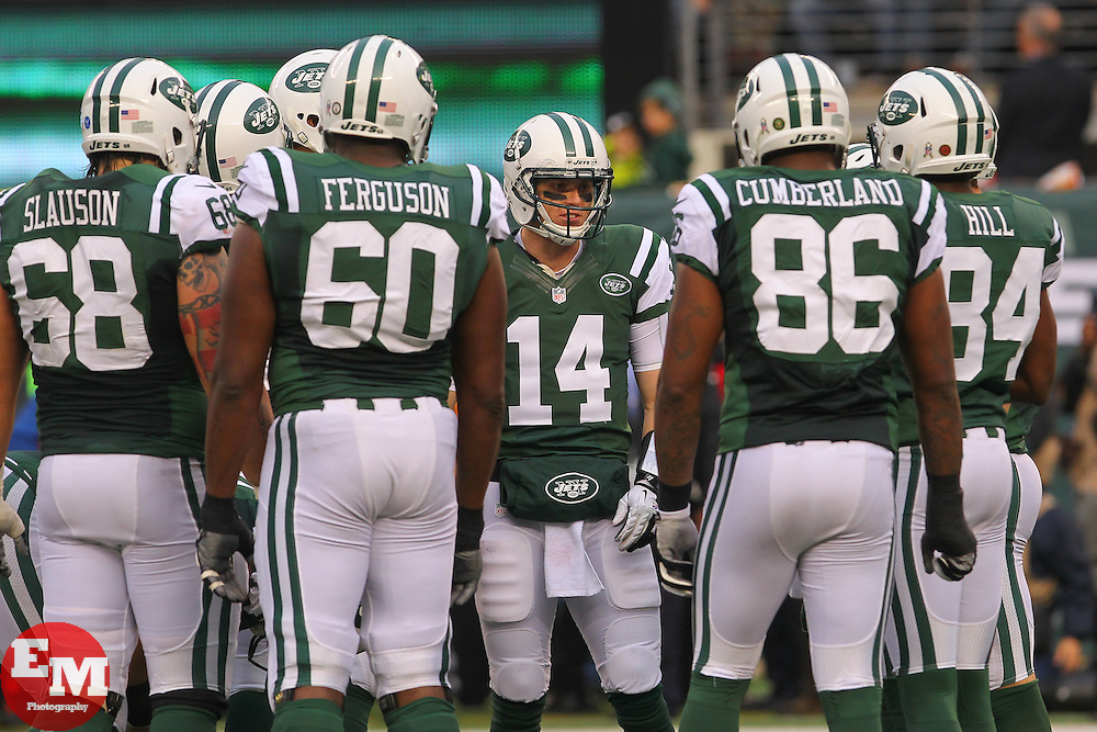 Dec 2, 2012; East Rutherford, NJ, USA; New York Jets quarterback Greg McElroy (14) takes over for New York Jets quarterback Mark Sanchez (6) during the second half at MetLIfe Stadium.