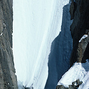 April 17, 1987. The late French mountaineer and extreme skier Jean Marc Boivin making the first descent of the south face couloir on the Drus. Boivin died February 17th, 1990 BASE jumping from Venzuela's Angel Falls.