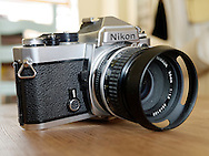 London, England - June 17, 2016: Nikon FE 35mm Single Lens Reflex Film Camera, First produced in Japan in 1978