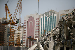 Abu Dhabi Construction.<br /> Old buildings being ripped down to make way for  new modern buildings in Hamden Street, Abu Dhabi, United Arab Emirates, <br /> 21st July 2008. <br /> Picture by Andrew Parsons / i-Images