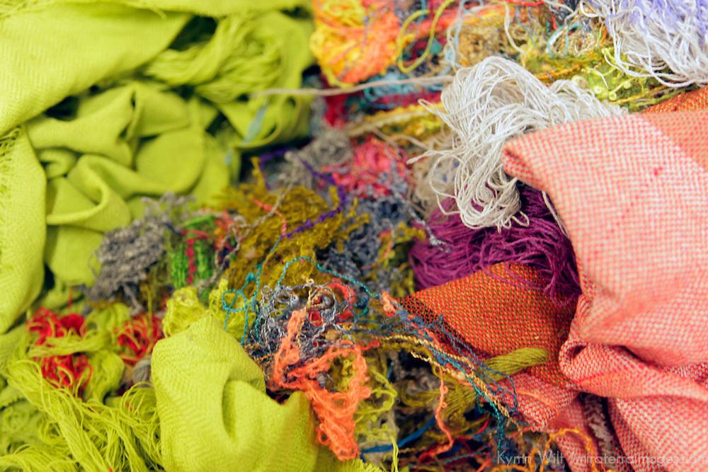 Europe, Ireland, Avoca. Avoca Handweavers Mill, County Wicklow. Scraps and discards at woollen mill.