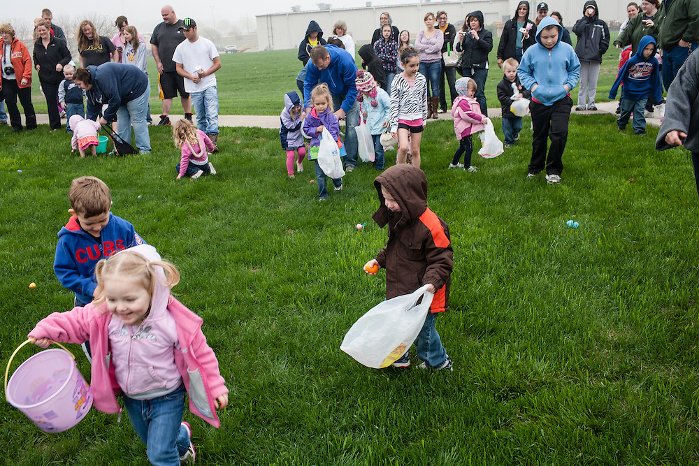 Children take part in an Easter Egg hunt at Southfield Wellness Community on Saturday, March 31, 2012 in Webster City, IA.