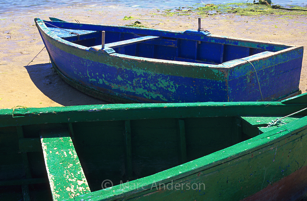 Green & blue rowing boats, Barbate, Spain