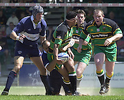 01/06/2002.Sport - Rugby - Zurich Championship.Bristol v Northampton.Andrew Blowers, tackled by Emiliano Bergamaschi, look's to pass the ball.    [Mandatory Credit, Peter Spurier/ Intersport Images].