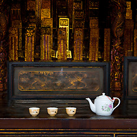 Tea left for what I presume is an offering at a Budhist temple, George Town, Penang.