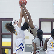 Caesar Rodney Victoria Sebastian (2) and Hodgson Vo-Tech Jessica Shaw (21) battle for the rebound during a Diamond State Classic game Wed. Dec. 28, 2016 at Saint Elizabeth's High School in Wilmington.